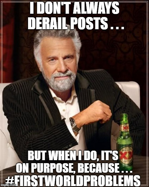 The Most Interesting Man In The World Meme | I DON'T ALWAYS DERAIL POSTS . . . BUT WHEN I DO, IT'S ON PURPOSE, BECAUSE . . . #FIRSTWORLDPROBLEMS | image tagged in memes,the most interesting man in the world | made w/ Imgflip meme maker