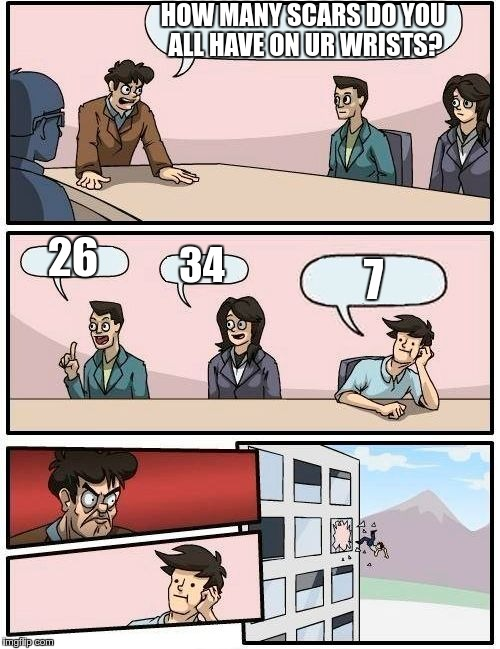 Boardroom Meeting Suggestion Meme | HOW MANY SCARS DO YOU ALL HAVE ON UR WRISTS? 26 34 7 | image tagged in memes,boardroom meeting suggestion | made w/ Imgflip meme maker