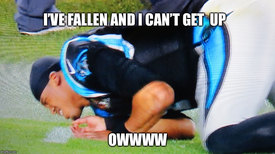 Cam Newton Banged | I'VE FALLEN AND I CAN'T GET  UP OWWWW | image tagged in cam newton banged | made w/ Imgflip meme maker