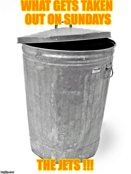 Trash Can | WHAT GETS TAKEN OUT ON SUNDAYS THE JETS !!! | image tagged in trash can | made w/ Imgflip meme maker