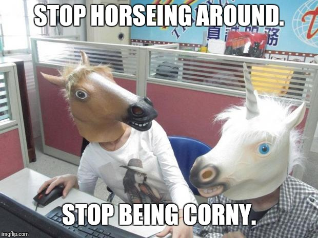 Unicorn Horse Office Computer | STOP HORSEING AROUND. STOP BEING CORNY. | image tagged in unicorn horse office computer,meme,memes,corny joke | made w/ Imgflip meme maker