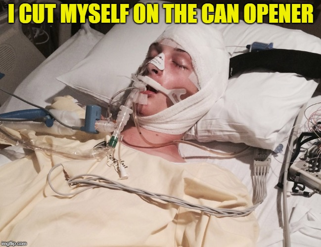 I CUT MYSELF ON THE CAN OPENER | made w/ Imgflip meme maker
