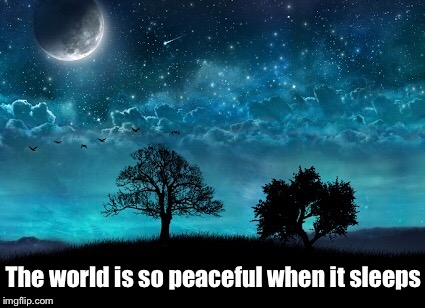 Peaceful night  | The world is so peaceful when it sleeps | image tagged in meme,night,peaceful,beautiful,inspiration,world | made w/ Imgflip meme maker