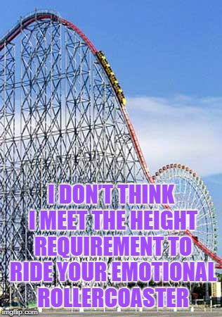 Rollercoaster  | I DON'T THINK I MEET THE HEIGHT REQUIREMENT TO RIDE YOUR EMOTIONAL ROLLERCOASTER | image tagged in rollercoaster,memes,funny memes,emotional,funny | made w/ Imgflip meme maker