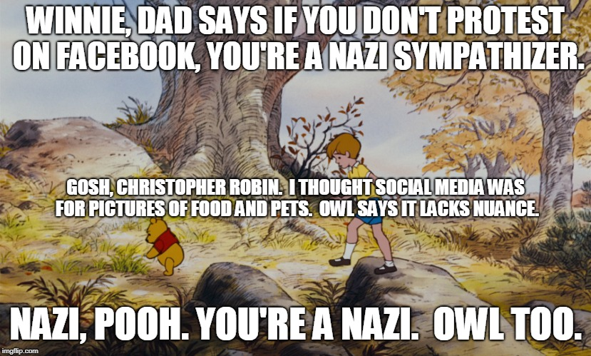 Social Media Protesters |  WINNIE, DAD SAYS IF YOU DON'T PROTEST ON FACEBOOK, YOU'RE A NAZI SYMPATHIZER. GOSH, CHRISTOPHER ROBIN.  I THOUGHT SOCIAL MEDIA WAS FOR PICTURES OF FOOD AND PETS.  OWL SAYS IT LACKS NUANCE. NAZI, POOH. YOU'RE A NAZI.  OWL TOO. | image tagged in activism,winnie the pooh,protests,trump protests,facebook protests,social media activism | made w/ Imgflip meme maker