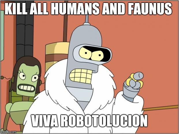 Bender Meme | KILL ALL HUMANS AND FAUNUS VIVA ROBOTOLUCION | image tagged in memes,bender | made w/ Imgflip meme maker