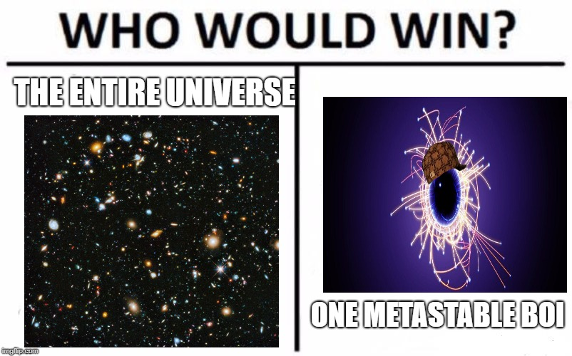 Who Would Win? Meme | THE ENTIRE UNIVERSE ONE METASTABLE BOI | image tagged in memes,who would win,scumbag | made w/ Imgflip meme maker