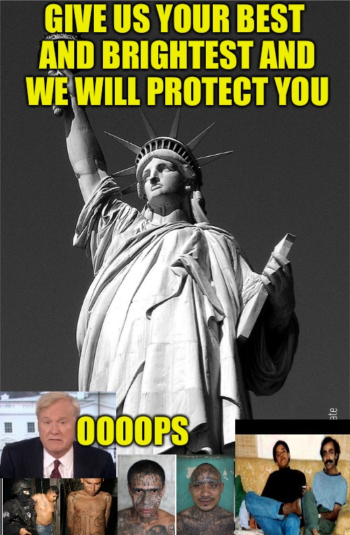Blood Drive  | GIVE US YOUR BEST AND BRIGHTEST AND WE WILL PROTECT YOU OOOOPS | image tagged in immigration,illegal immigration,statue of liberty,drugs,rape,iq | made w/ Imgflip meme maker