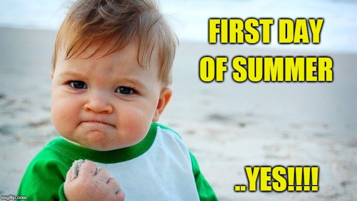 FIRST DAY ..YES!!!! OF SUMMER | image tagged in success-kid-beach | made w/ Imgflip meme maker