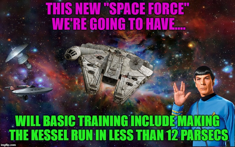 "Welcome to all you new Space Cadets | THIS NEW ""SPACE FORCE"" WE'RE GOING TO HAVE.... WILL BASIC TRAINING INCLUDE MAKING THE KESSEL RUN IN LESS THAN 12 PARSECS 