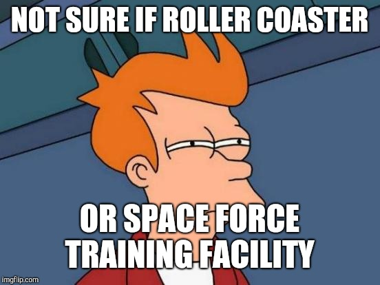 Futurama Fry Meme | NOT SURE IF ROLLER COASTER OR SPACE FORCE TRAINING FACILITY | image tagged in memes,futurama fry | made w/ Imgflip meme maker