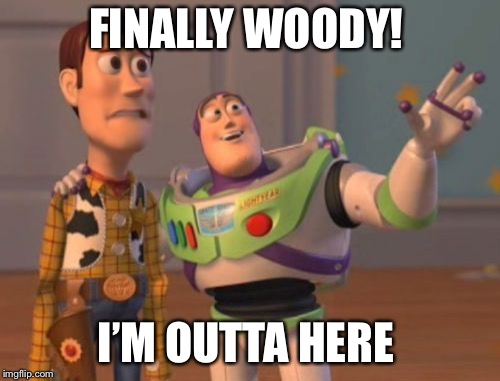 X, X Everywhere Meme | FINALLY WOODY! I'M OUTTA HERE | image tagged in memes,x x everywhere | made w/ Imgflip meme maker