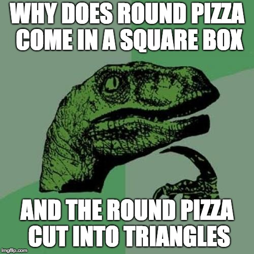 Philosoraptor Meme | WHY DOES ROUND PIZZA COME IN A SQUARE BOX AND THE ROUND PIZZA CUT INTO TRIANGLES | image tagged in memes,philosoraptor | made w/ Imgflip meme maker