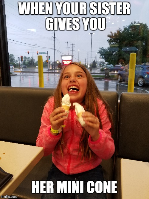 WHEN YOUR SISTER GIVES YOU HER MINI CONE | image tagged in mcdonalds,mcfun | made w/ Imgflip meme maker