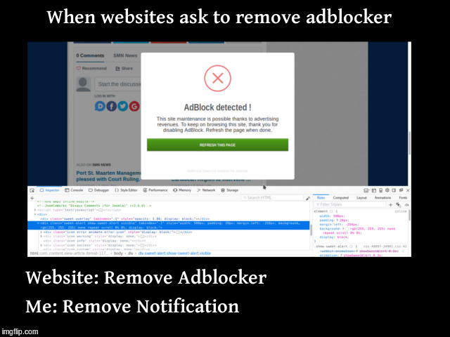 When websites ask me to remove adblocker | image tagged in code,f12,programer,mirl,demotivational,ads | made w/ Imgflip meme maker