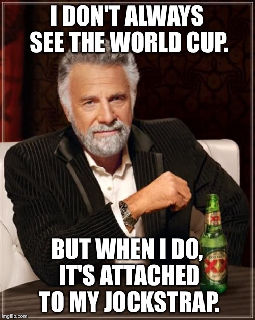World Cup Jockstrap | I DON'T ALWAYS SEE THE WORLD CUP. BUT WHEN I DO, IT'S ATTACHED TO MY JOCKSTRAP. | image tagged in memes,the most interesting man in the world,world cup,bad joke,sport,locker room talk | made w/ Imgflip meme maker