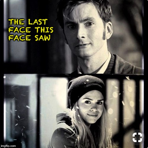 The last face this face saw |  THE LAST FACE THIS FACE SAW | image tagged in doctor who,10th doctor,rose tyler | made w/ Imgflip meme maker