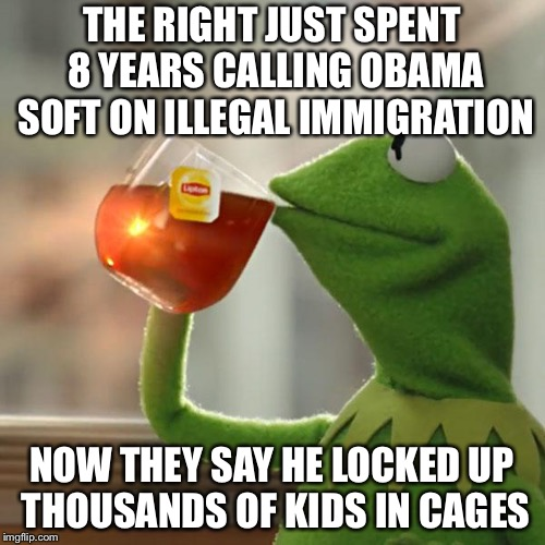 But Thats None Of My Business | THE RIGHT JUST SPENT 8 YEARS CALLING OBAMA SOFT ON ILLEGAL IMMIGRATION NOW THEY SAY HE LOCKED UP THOUSANDS OF KIDS IN CAGES | image tagged in memes,but thats none of my business,kermit the frog | made w/ Imgflip meme maker