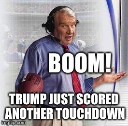Thank you Nancypantsie Pelaters | BOOM! TRUMP JUST SCORED ANOTHER TOUCHDOWN | image tagged in no shit madden,maxine maxoff,dirty waters max,demoncratics,memes,demonemes | made w/ Imgflip meme maker