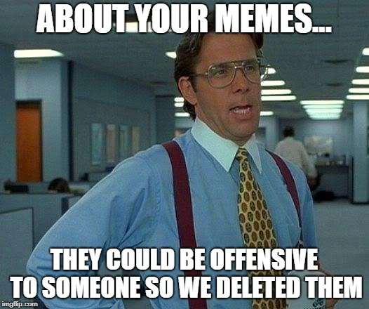 By the way | ABOUT YOUR MEMES... THEY COULD BE OFFENSIVE TO SOMEONE SO WE DELETED THEM | image tagged in memes,that would be great | made w/ Imgflip meme maker