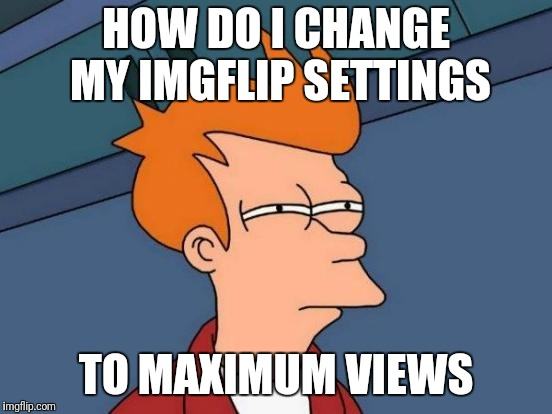 Futurama Fry Meme | HOW DO I CHANGE MY IMGFLIP SETTINGS TO MAXIMUM VIEWS | image tagged in memes,futurama fry | made w/ Imgflip meme maker