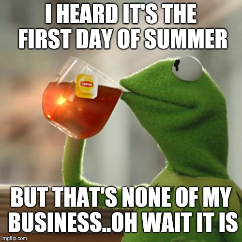 It's the first day of summer :D | I HEARD IT'S THE FIRST DAY OF SUMMER BUT THAT'S NONE OF MY BUSINESS..OH WAIT IT IS | image tagged in memes,but thats none of my business,kermit the frog,summer | made w/ Imgflip meme maker