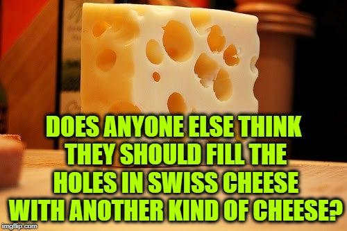 DOES ANYONE ELSE THINK THEY SHOULD FILL THE HOLES IN SWISS CHEESE WITH ANOTHER KIND OF CHEESE? | image tagged in swiss cheese,memes,funny,funny memes,cheese,idea | made w/ Imgflip meme maker