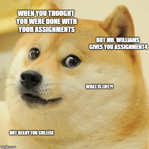 Doge | WHEN YOU THOUGHT YOU WERE DONE WITH YOUR ASSIGNMENTS BUT MR. WILLIAMS GIVES YOU ASSIGNMENT4 WHAT IS LIFE?! NOT READY FOR COLLEGE | image tagged in memes,doge | made w/ Imgflip meme maker