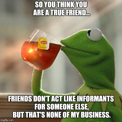 But Thats None Of My Business | SO YOU THINK YOU ARE A TRUE FRIEND... FRIENDS DON'T ACT LIKE INFORMANTS FOR SOMEONE ELSE, BUT THAT'S NONE OF MY BUSINESS. | image tagged in memes,but thats none of my business,kermit the frog | made w/ Imgflip meme maker