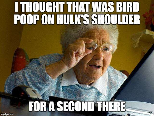 Grandma Finds The Internet Meme | I THOUGHT THAT WAS BIRD POOP ON HULK'S SHOULDER FOR A SECOND THERE | image tagged in memes,grandma finds the internet | made w/ Imgflip meme maker