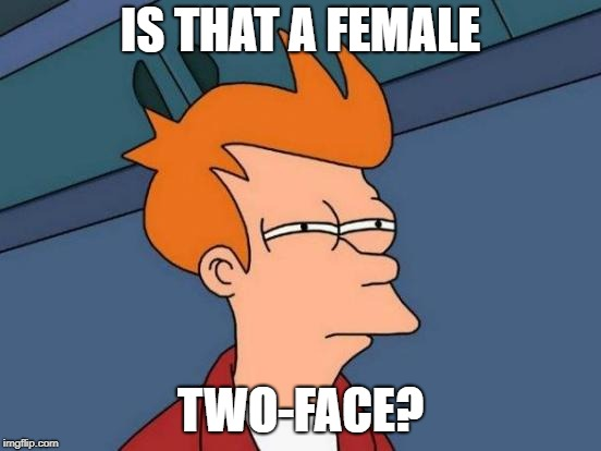 Futurama Fry Meme | IS THAT A FEMALE TWO-FACE? | image tagged in memes,futurama fry | made w/ Imgflip meme maker