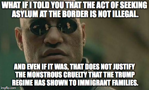Matrix Morpheus Meme | WHAT IF I TOLD YOU THAT THE ACT OF SEEKING ASYLUM AT THE BORDER IS NOT ILLEGAL. AND EVEN IF IT WAS, THAT DOES NOT JUSTIFY THE MONSTROUS CRUE | image tagged in memes,matrix morpheus,nazi,immigration,donald trump | made w/ Imgflip meme maker