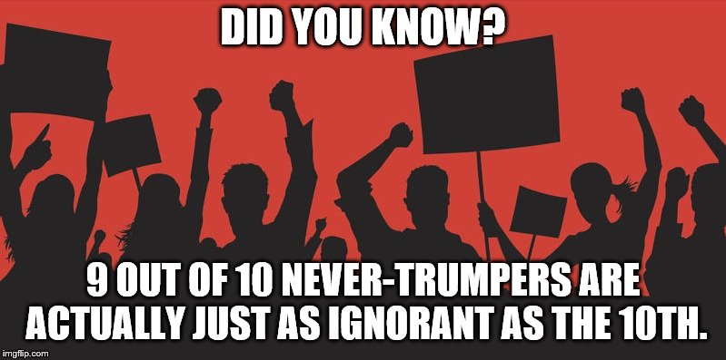 Factoid | DID YOU KNOW? 9 OUT OF 10 NEVER-TRUMPERS ARE ACTUALLY JUST AS IGNORANT AS THE 10TH. | image tagged in trump,never trump | made w/ Imgflip meme maker