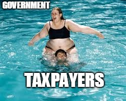 Government making taxpayers drown | GOVERNMENT TAXPAYERS | image tagged in help he's drowning,fat,lady,pool,government,taxpayers | made w/ Imgflip meme maker