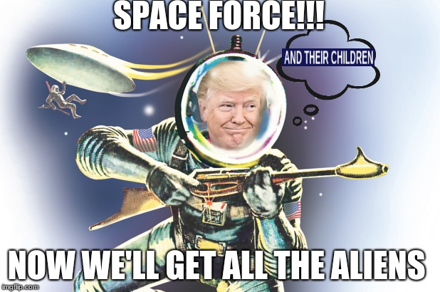 The sixth military branch | SPACE FORCE!!! NOW WE'LL GET ALL THE ALIENS | image tagged in trump,space,military,space force,aliens,the sixth military branch | made w/ Imgflip meme maker