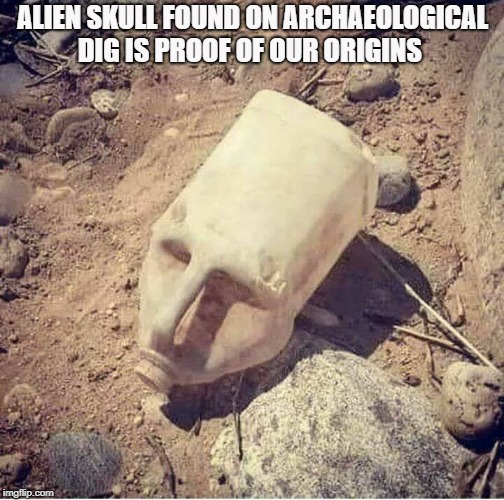 alien skull found on archaeological dig  | ALIEN SKULL FOUND ON ARCHAEOLOGICAL DIG IS PROOF OF OUR ORIGINS | image tagged in alien,skull | made w/ Imgflip meme maker