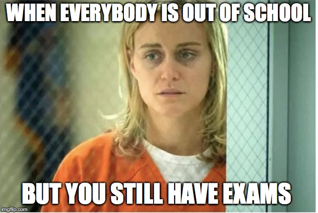 How we all feel | WHEN EVERYBODY IS OUT OF SCHOOL BUT YOU STILL HAVE EXAMS | image tagged in funny memes,memes,too funny,funny,school,orange is the new black | made w/ Imgflip meme maker