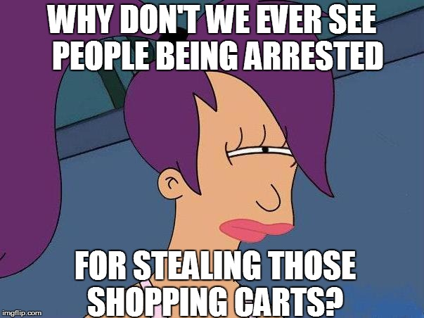 WHY DON'T WE EVER SEE  PEOPLE BEING ARRESTED FOR STEALING THOSE SHOPPING CARTS? | made w/ Imgflip meme maker