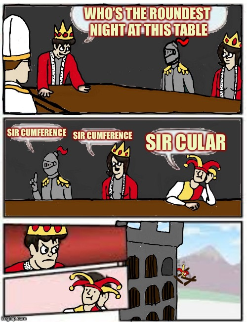 Medieval Boardroom Suggestion | WHO'S THE ROUNDEST NIGHT AT THIS TABLE SIR CUMFERENCE SIR CUMFERENCE SIR CULAR | image tagged in medieval boardroom suggestion,memes,funny,medieval week | made w/ Imgflip meme maker