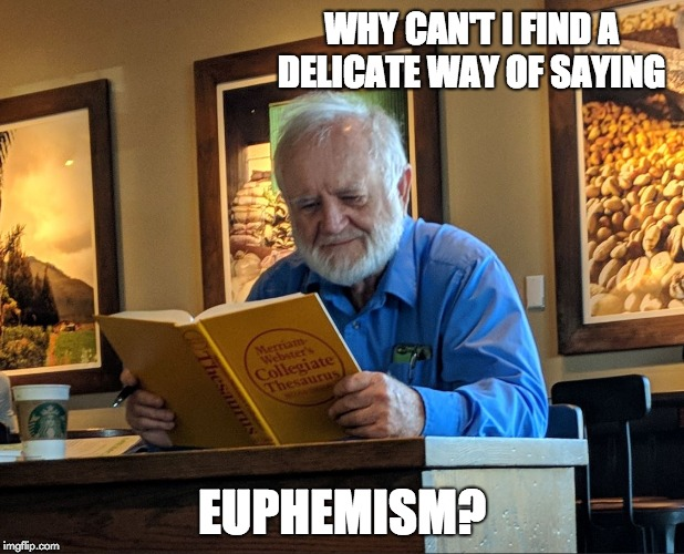WHY CAN'T I FIND A DELICATE WAY OF SAYING EUPHEMISM? | image tagged in thesaurus man | made w/ Imgflip meme maker