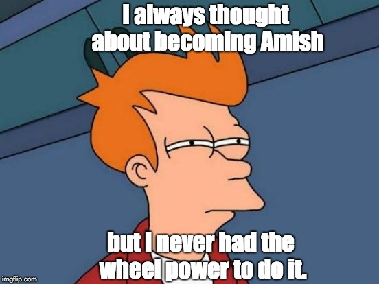 Futurama Fry Meme | I always thought about becoming Amish but I never had the wheel power to do it. | image tagged in memes,futurama fry | made w/ Imgflip meme maker