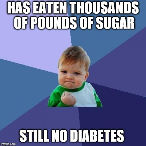 Sugar Kid | HAS EATEN THOUSANDS OF POUNDS OF SUGAR STILL NO DIABETES | image tagged in memes,success kid | made w/ Imgflip meme maker