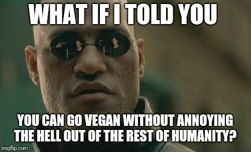 Matrix Morpheus Meme | WHAT IF I TOLD YOU YOU CAN GO VEGAN WITHOUT ANNOYING THE HELL OUT OF THE REST OF HUMANITY? | image tagged in memes,matrix morpheus | made w/ Imgflip meme maker
