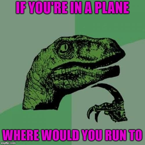 Philosoraptor Meme | IF YOU'RE IN A PLANE WHERE WOULD YOU RUN TO | image tagged in memes,philosoraptor | made w/ Imgflip meme maker
