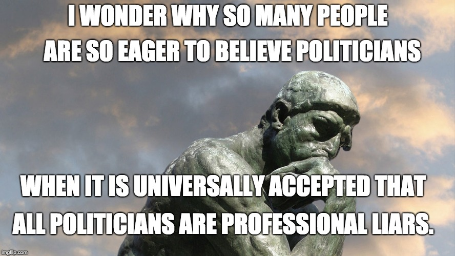 Pondering The Imponderables | I WONDER WHY SO MANY PEOPLE ARE SO EAGER TO BELIEVE POLITICIANS WHEN IT IS UNIVERSALLY ACCEPTED THAT ALL POLITICIANS ARE PROFESSIONAL LIARS. | image tagged in the thinker,political meme | made w/ Imgflip meme maker
