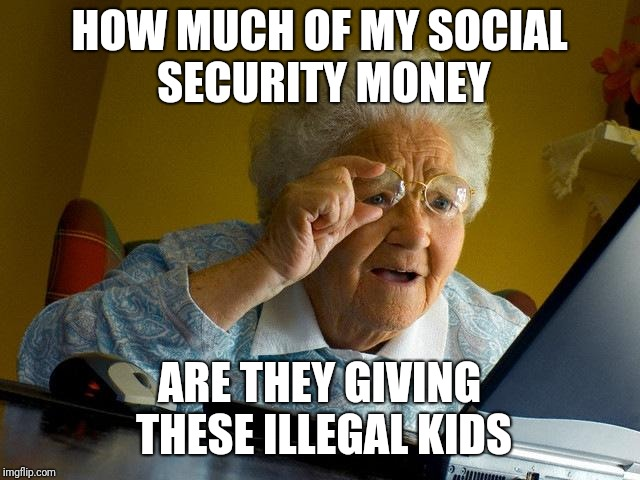 Flush your social security | HOW MUCH OF MY SOCIAL SECURITY MONEY ARE THEY GIVING THESE ILLEGAL KIDS | image tagged in memes,grandma finds the internet,kids | made w/ Imgflip meme maker
