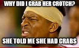 WHY DID I GRAB HER CROTCH? SHE TOLD ME SHE HAD CRABS | image tagged in jameis winston | made w/ Imgflip meme maker