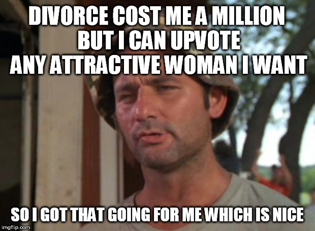 So i got that going for me which is nice | DIVORCE COST ME A MILLION BUT I CAN UPVOTE ANY ATTRACTIVE WOMAN I WANT SO I GOT THAT GOING FOR ME WHICH IS NICE | image tagged in so i got that going for me which is nice,AdviceAnimals | made w/ Imgflip meme maker