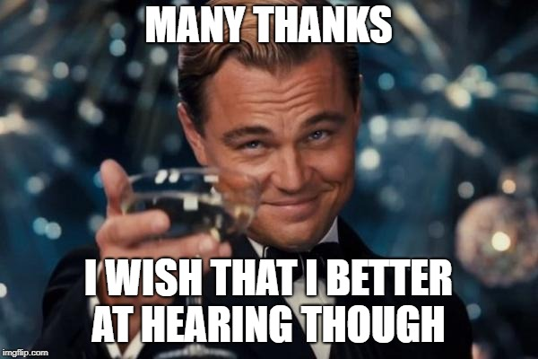 Leonardo Dicaprio Cheers Meme | MANY THANKS I WISH THAT I BETTER AT HEARING THOUGH | image tagged in memes,leonardo dicaprio cheers | made w/ Imgflip meme maker