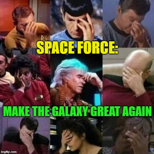 Yay, giddy-up | SPACE FORCE: MAKE THE GALAXY GREAT AGAIN | image tagged in star trek face palm,memes,funny,i have no idea what i am doing | made w/ Imgflip meme maker